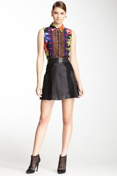 Nanette Lepore Kool and the Gang Leather & Lace Skirt on HauteLook