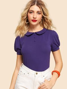 SHEIN Womens Purple Puff Short Sleeve Vintage Summer T-shirts 2018 New Weekend Casual Stretchy Round Collar Solid Top And Tees Fashion News, Fashion Outfits, Work Fashion, Latest T Shirt, Types Of Sleeves, Cool T Shirts, Feminine, Tees, Clothes
