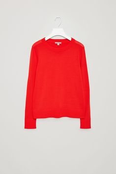 COS image 10 of Fine-knitted cotton jumper in Red