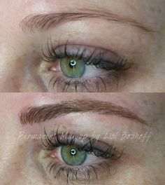 Microblade eyebrow tattoo - by #lislboshoff #powderpuffmakeup Before and…