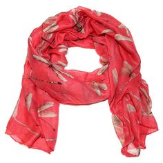 Cozy by Lulu- Dragonfly Scarf in Pink