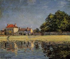 The Dam, Loing Canal at Saint Mammes, 1884 by Alfred Sisley. Impressionism. landscape. Private Collection