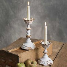 Set of Two Country Rustic Distressed Metal Dapheny Tapered CANDLE Holders These items are made of metal and measure, small: dia. x large: dia. x Shown with taper candles, not included. Taper Candle, Taper Candle Holders Wedding, White Candle Holders, Taper Candle Holders, Wooden Candle Holders, Beautiful Candles, Vintage Inspired Decor, Candle Stand, Vintage Candles