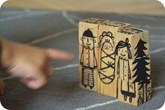 dřevěné kostky..houten blokjes toren puzzel om zelf te maken...interessant