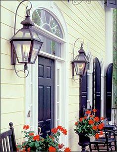 Vintage Hanging Gas Lanterns for Front Door Decorations 12 - Rockindeco Exterior House Colors, Exterior Doors, Exterior Paint, Porch Lighting, Exterior Lighting, Outdoor Lighting, Patio Lanterns, Gas Lanterns, Front Door Colors