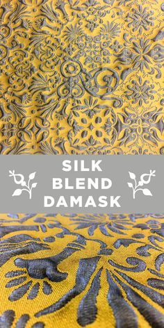 Yellow and Silver Silk Blend with Liquid Look Damask Patterns Textile Pattern Design, Textile Patterns, Damask Patterns, Fabric Board, B And J Fabrics, Kinds Of Fabric, Fabric Names, Warm Outfits, Winter Looks