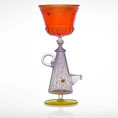 "RICHARD MARQUIS ""Teapot Goblet"" 1988; Blown glass, zanfirico glass"