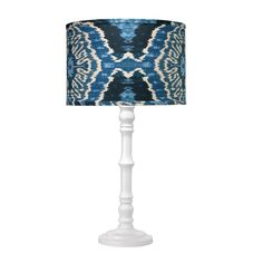 Longshan Table Lamp in White with Royal Ikat shade by Jamie Young Company. #shopcandelabra #jamieyoung #inthenavy
