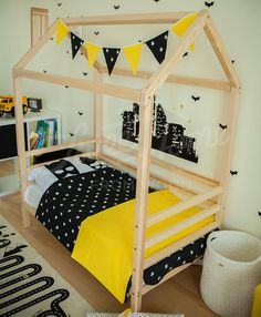 Kid bed house is an floor bed for children where to sleep and play. This adorable house bed frame will make transitioning from a nursery bed to a toddler bed smoothly. Frame bed is designed following Montessori furniture principles of independence – building, it saves you a lot of