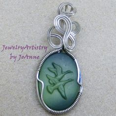 Wire Wrapped Pendant  Duck Cameo Green & by JewelryArtistry, $45.00