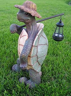 Ebros Gift Nature Hiking Turtle Tortoise With Straw Hat Statue Carrying Solar Powered Lantern LED Light Patio Decor Indoor Outdoor Figurine Home Decorative Sculpture Solar Powered Lanterns, Solar Lanterns, Solar Lights, Tree House Decor, Turtle Time, Solar Light Crafts, Tortoise Turtle, Garden Statues, Garden Animal Statues