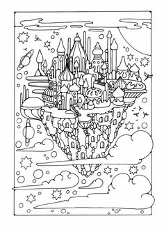Colouring Page Flying City
