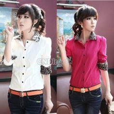 $11.22 Korean Womens Leopard Decoration Long Sleeve Corduroy Shirt Blouse 2 Colors