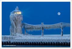 Frozen Lighthouse, Saint Joseph, Michigan