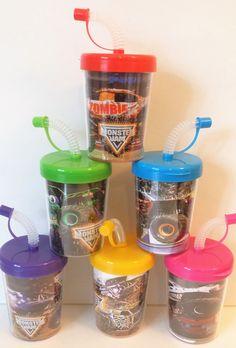 MONSTER JAM MONSTER TRUCKS BIRTHDAY PARTY FAVOR CUPS LIDS & STRAWS SET OF 6 www.PartyFavorCups4u.com