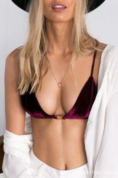 Burgundy Sexy Velvet V-neck Simple Bralet