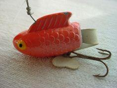 Vtg Antique Fishing Lure Weighty Metal w Rubber Tail Orange White 3 inch F1012 #UnbrandedGeneric Seller florasgarden on ebay