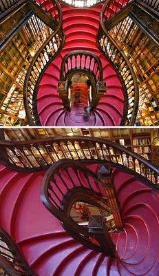 The Lello Library in Oporto, Portugal. I want these stairs in my house. The books too.