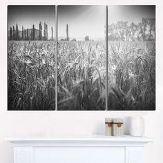 and White Wheat Field - Landscape Wall Art Print