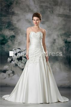 Corset-back Appliques Satin A-Line Sleeveless Best Wedding Dresses