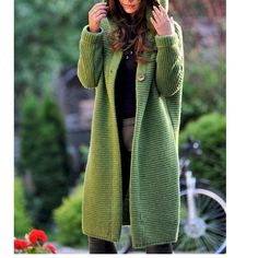 Casual Knitted Long Sleeve Solid Hoodie Coat Source by daisyleavitt Long Sweaters, Sweaters For Women, Casual Sweaters, Style Casual, Simple Style, Mode Inspiration, Long Cardigan, Hooded Cardigan, Sweater Cardigan