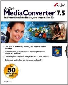 ArcSoft MediaConverter 7.5 is a fast, easy-to-use application that converts video, audio, and photo files into formats optimized for portable devices. Convert multimedia files with unmatched speed and quality to play on your mobile phone, iPod, PMP, TV, and other portable media players. To save time, convert multiple files in batches, regardless of original format.  Price: $39.99
