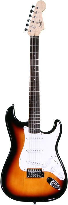 Squier Bullet Strat (Brown Sunburst) | Sweetwater.com  Don't sell these Squire's short.  They are a great place to start out and they play very well.  If you want a Fender sound but don't want to drop a ton of cash Play one of these.  Are they going to be the Strat of your dreams?  NO but they are solid instruments that will serve you well.