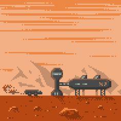 pixel art Mars Landscape Space Colony Red Mars by joseki piq Pixel Art Program, Pixel Art Maker, Red Mars, Life On Mars, Game Design, Space Colony, Scene, Landscape, Videogames
