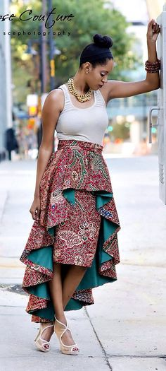 African Skirt - Ivie High Low skirt. This High Low skirt set is a fabulous way to bring a taste of culture to any outfit.  Ankara | Dutch wax | Kente | Kitenge | Dashiki | African print bomber jacket | African fashion | Ankara bomber jacket | African prints | Nigerian style | Ghanaian fashion | Senegal fashion | Kenya fashion | Nigerian fashion | Ankara crop top (affiliate)