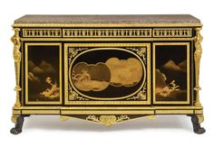 A Highly Important late Louis XVI ormolu-mounted Japanese black and gilt lacquer and ebony commode à vantaux and secrétaire à abattant en suite<br><P>late 18th century, attributed to Adam Weisweiler and Pierre-Philippe Thomire, possibly under the direction of Martin-Eloi Lignereux</P>   lot   Sotheby's
