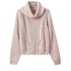 Pink High Roll Neck Long Sleeve Ribbed Trim Chunky Knit Sweater (€24) ❤ liked on Polyvore featuring tops, sweaters, extra long sleeve sweater, long sleeve tops, rollneck sweaters, long tops and pink sweater