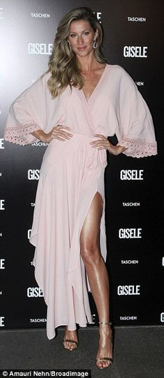 Gisele Bundchen showcases supermodel legs in split dress at book launch | Daily Mail Online