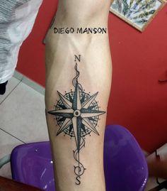 """50 Likes, 2 Comments - Diego Manson ⚡⚓  (@diegofrankensteintattoo) on Instagram: """"Rosa dos ventos #frankensteintattoo #rosadosventos #n #s #l #o #blackwork #blacktattoo #black…"""""""