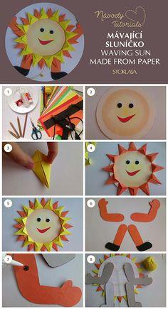 Návod na mávající sluníčko z papíru. Waving Sun made from Paper DIY. Diy Paper, Paper Crafts, Diy And Crafts, Crafts For Kids, Preschool Bulletin, Paper Snowflakes, Origami, Activities For Kids, Classroom