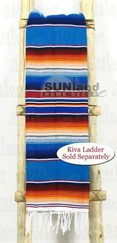 Mexican Serape Blanket - 5ft x 7ft - Blue Rainbow