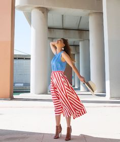 Full skirt, long, midi, high heel sandals, light blue top, hat, earrings