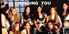 SNSD judging you. Hyoyeon looks shocked and confused at the same time. I love her.
