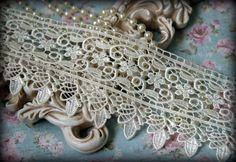 "Ivory Lace Fabric Trim, Lace Fabric, Guipure Lace, Venice Lace, Bridal Lace, Costume Design, Lace Applique, Crafting Lace, 3.5"" BN-012"