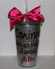 I'm so crafty I sweat Glitter acrylic tumbler by GlitterInkCards