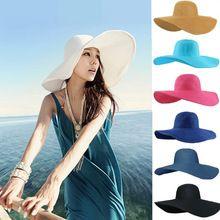 2016 moda verão mulheres de senhoras de dobrável ampla grande Brim Floppy praia  chapéu de sol 5402fc971da