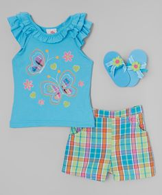 Turquoise Butterfly Angel-Sleeve Top Set - Infant & Toddler