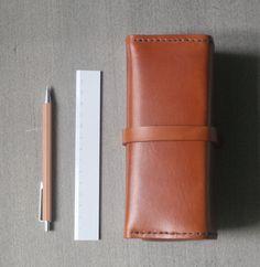 Brown vegetable tanned leather vintage pencil case/pen pouch/