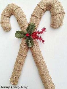10 Amazing DIY Dollar Store Christmas  Decorations like this burlap candy cane