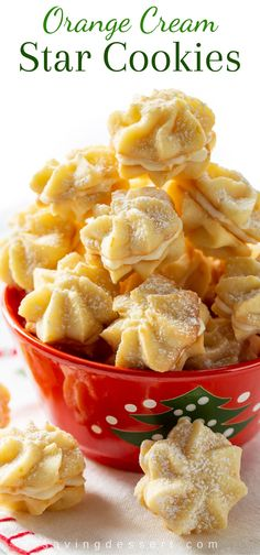 christmas cookie freezable Fill your holiday cookie jar with these delicious buttery Orange Cream Star Cookies, made with loads of fragrant orange zest and fresh orange juice in the filling. Orange Cookies, Star Cookies, Yummy Cookies, Cream Cookies, Spritz Cookies, Shortbread Cookies, Cookie Desserts, Cookie Recipes, Snack Recipes