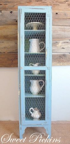 Cabinets with chicken wire.