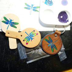Custom order leather dragonfly keychains