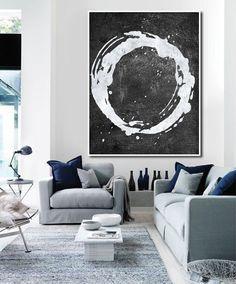 Hand Painted minimal art on canvas, minimalist painting, black and white modern art from CZ ART DESIGN. @CeilneZiangArt