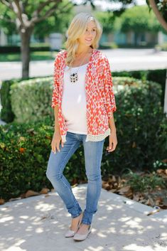 Red White Printed Crochet Fringe Maternity Cardigan from PinkBlush Maternity www.pinkblushmaternity.com #maternity #fashion