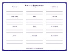 This Simple Home: Dates to Remember and Monthly To-Do Printables {Free}