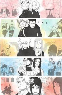 Naruto Uzumaki and Sakura Haruno. Shikamaru and Temari., Minato and Kushina., Asuma and Kurenai , Yahiko and  Konan